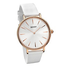 Seksy Ladies' White Dial White Leather Strap Watch - Product number 3765636