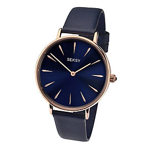 Sekonda Seksy Ladies' Blue Dial Blue Leather Strap Watch - Product number 3765644