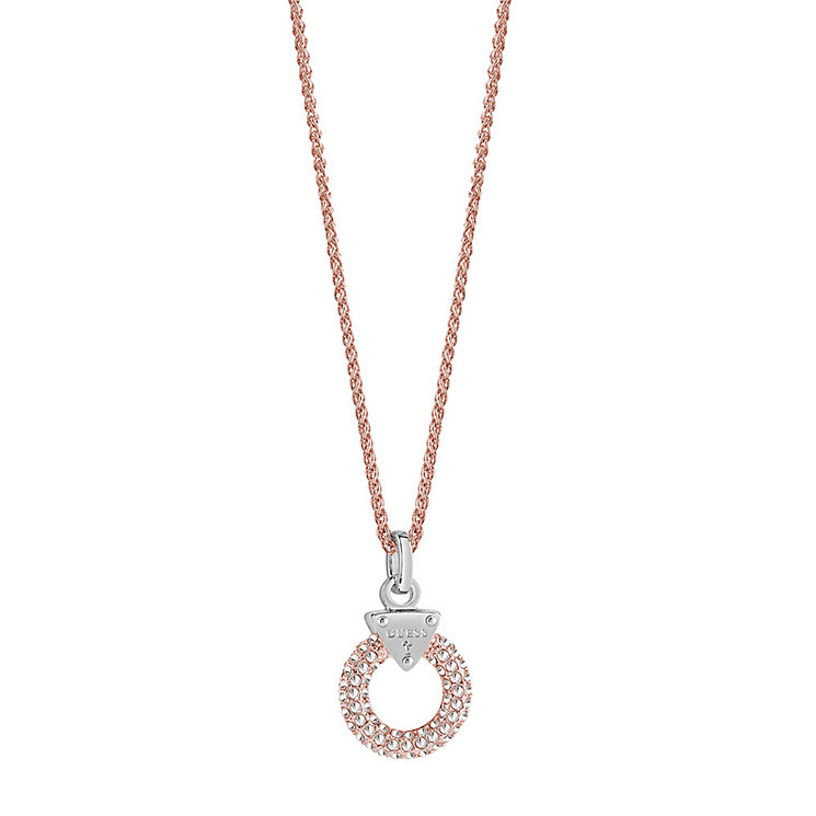 Guess Rose Gold-Plated Pave Stone Set Circle Lock Pendant - Product number 3765695