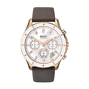 Sekonda Editions Seksy Ladies' Chronograph Leather Watch - Product number 3765733