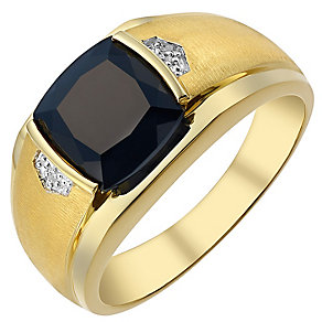 9ct gold diamond & onyx ring - Product number 3765962