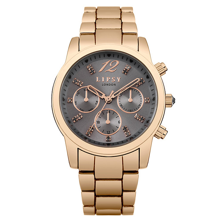 Lipsy Ladies' Grey Dial & Rose Gold Plated Bracelet Watch - Product number 3767485