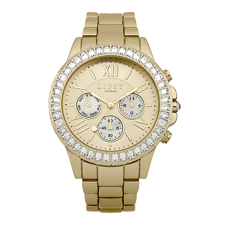 Lipsy Ladies' Round white Dial Gold Plated Bracelet Watch - Product number 3767515