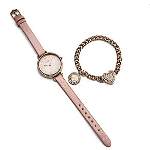 Lipsy Ladies' Pink Leather Strap Watch & Rose Tone Bracelet - Product number 3767612