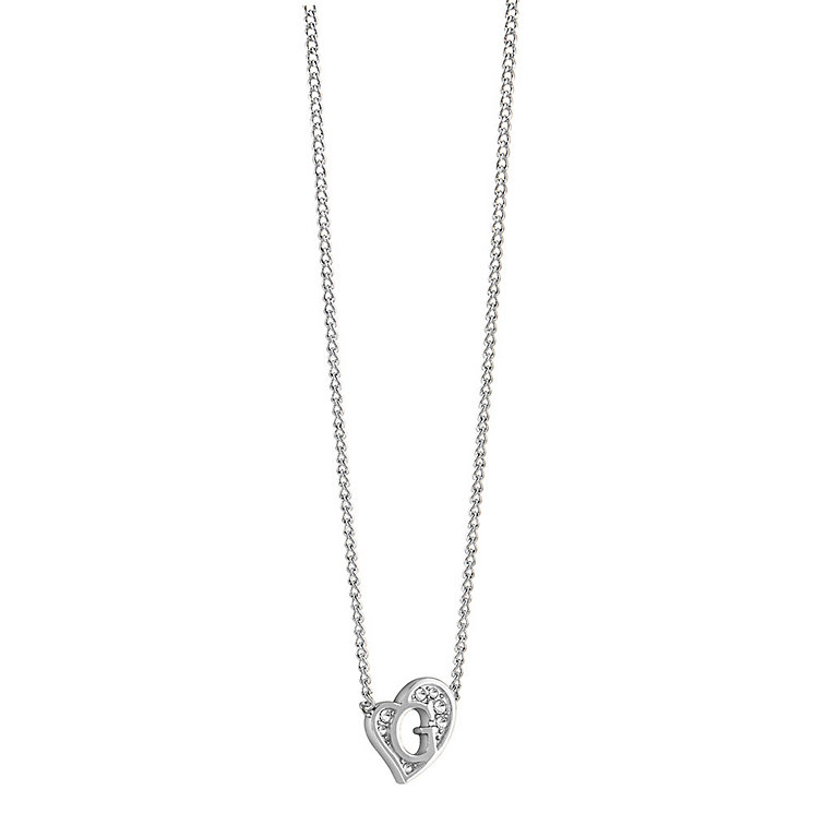 Guess Rhodium-Plated Stone Set Mini 'G' Heart Necklace - Product number 3768910