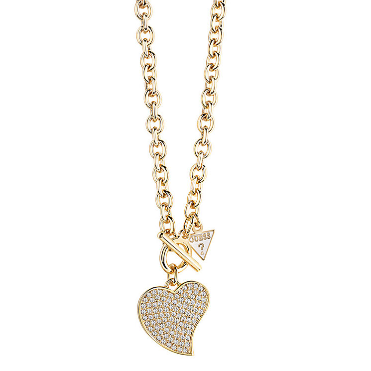 Guess Gold-Plated Small Pave Stone Set Heart Necklace - Product number 3768953