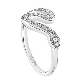 Guess Rhodium-Plated Pave Stone Set Serpent Ring - Product number 3769003