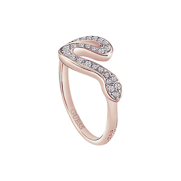 Guess Rose Gold-Plated Pave Stone Set Serpent Ring - Product number 3769011