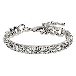Mikey Silver Tone Half Crescent Crystal Set Bracelet - Product number 3769046