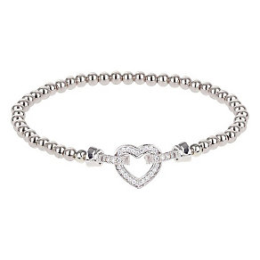 Mikey Silver Tone Crystal Set Interlocked Heart Bracelet - Product number 3769070