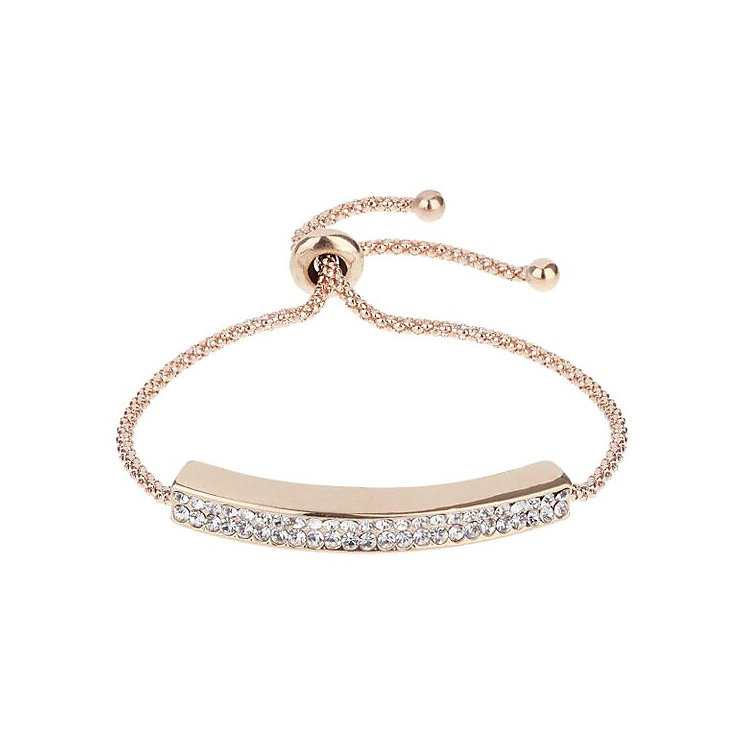 Mikey Yellow Gold Tone Crystal Set Chain ID Tie Bracelet - Product number 3769119