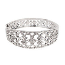 Mikey Silver Tone Crystal Set Vintage Filigree Bangle - Product number 3769151