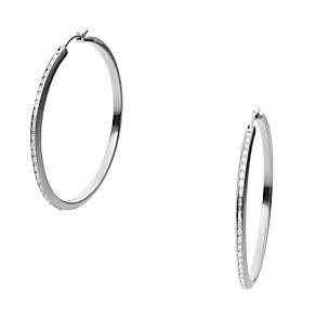 DKNY City Sparkle Sterling Silver Stone Set Hoop Earrings - Product number 3769240
