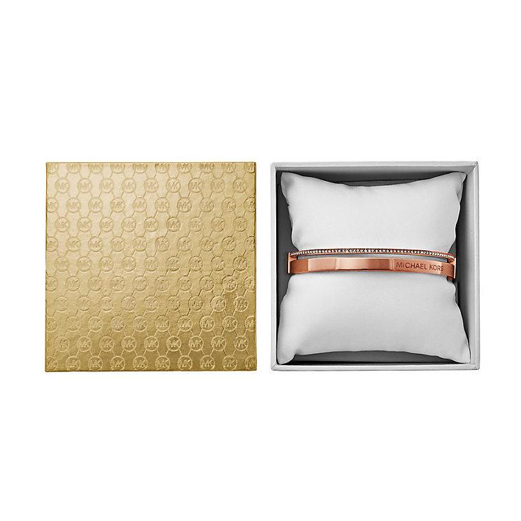 Michael Kors Ladies Rose Gold Tone Crystal Set Bangle - Product number 3771512