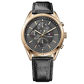 Tommy Hilfiger Gent's' Rose Gold Dial & Balck Leather Strap - Product number 3773728