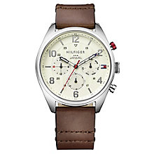 Tommy Hilfiger Men's Brown Leather Strap Pilot Watch - Product number 3774023