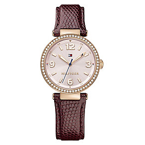 Tommy Hilfiger Ladies' Rose Gold & Red Leather Strap Watch - Product number 3774139