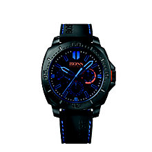 Hugo Boss Orange Men's Black Dial Black Silicone Strap Watch - Product number 3774406