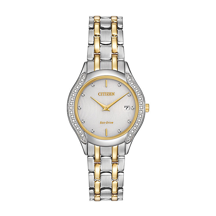 Citizen Eco-Drive Ladies' Diamond Two Colour Bracelet Watch - Product number 3777596