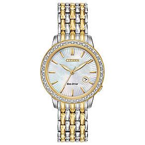 Citizen Eco-Drive Ladies' Diamond Two Colour Bracelet Watch - Product number 3777626