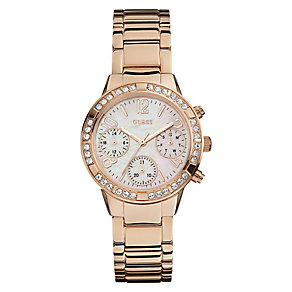 Guess Ladies' Mother of Pearl Rose Gold Plated Watch - Product number 3778533