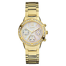 Guess Ladies' Mother of Pearl Gold Plated Bracelet Watch - Product number 3778576