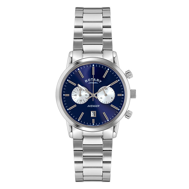Rotary Men's Round Blue Dial Stainless Steel Bracelet Watch - Product number 3780295