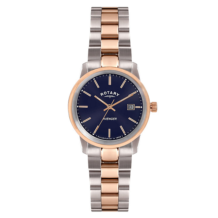 Rotary Ladies' Round Blue Dial Two Tone Bracelet Watch - Product number 3780325