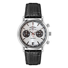 Rotary Men's Silver Dial Black Leather Strap Watch - Product number 3780341