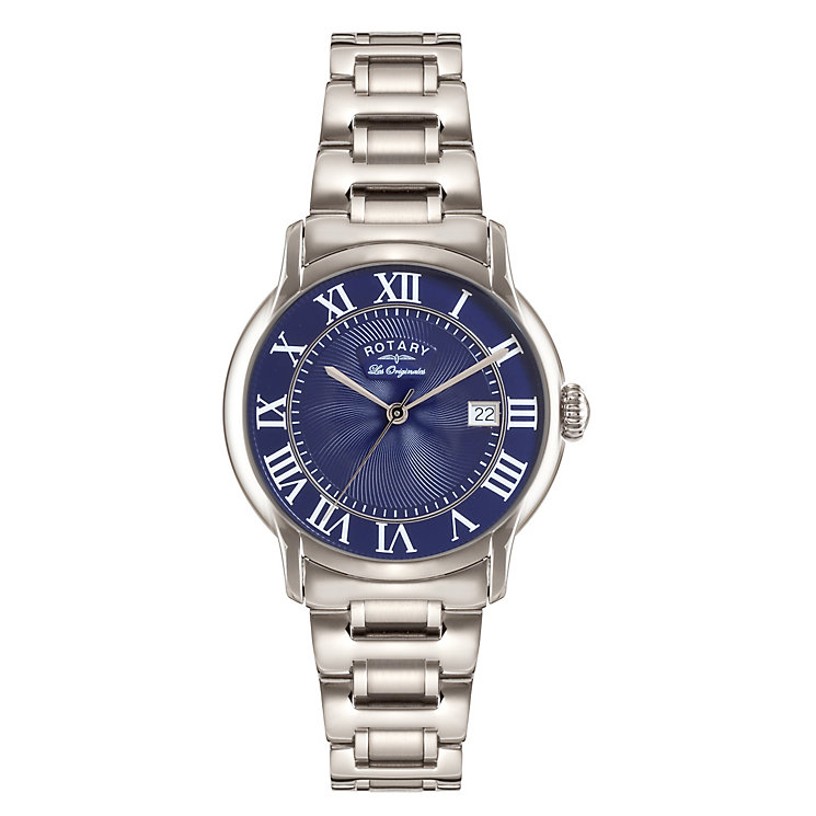 Rotary Men's Round Blue Dial Stainless Steel Bracelet Watch - Product number 3780368