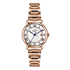 Rotary Ladies' Silver Dial Rose Gold- Plated Bracelet Watch - Product number 3780384