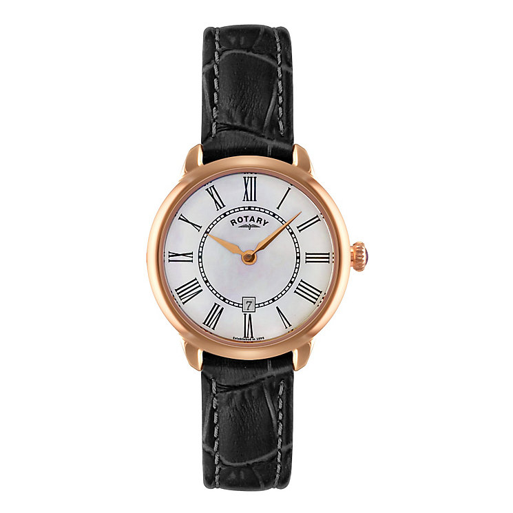 Rotary Ladies' White Mother of Pearl Leather Strap Watch - Product number 3780406