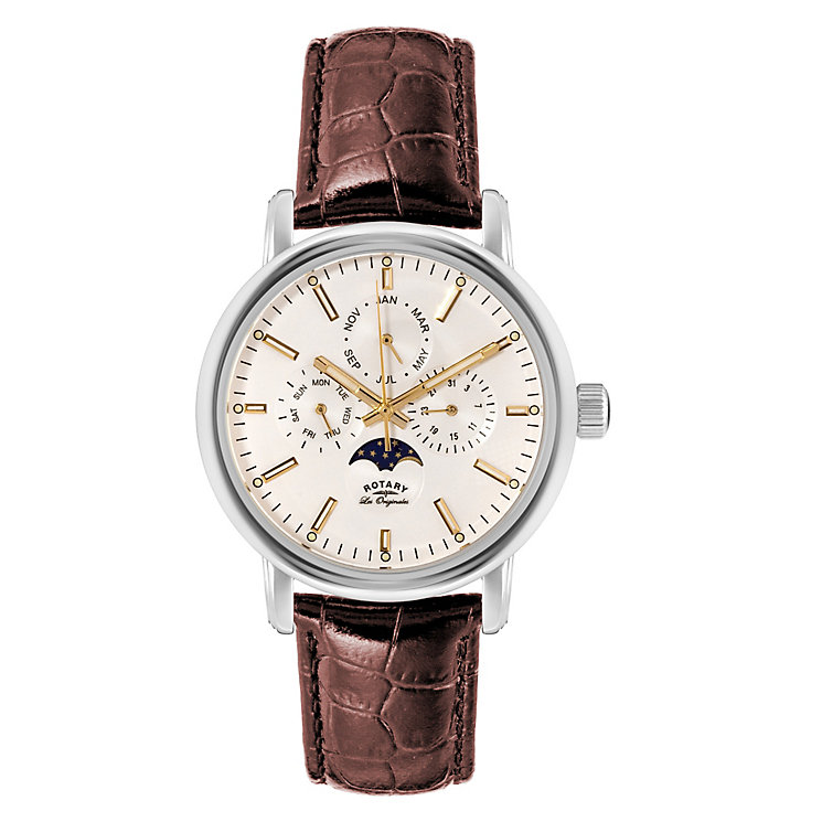 Rotary Men's Round White Dial Brown Leather Strap Watch - Product number 3780414