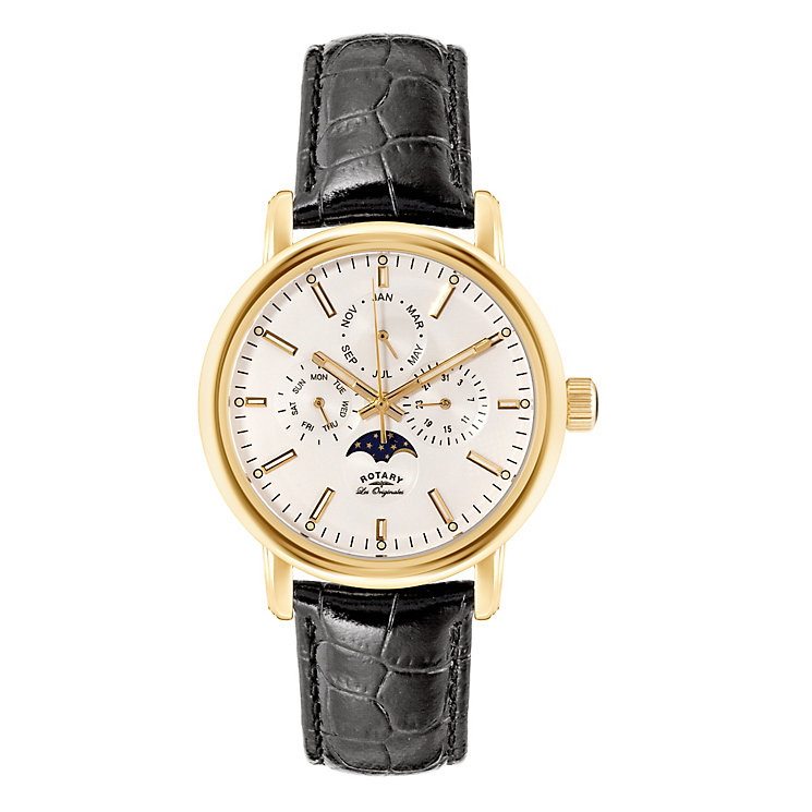 Rotary Men's White Dial Black Leather Strap Watch - Product number 3780422