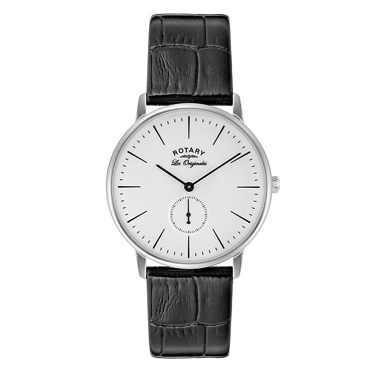Rotary Men's Round White Dial Black Leather Strap Watch - Product number 3780430