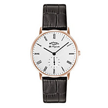 Rotary Men's White Dial Black Leather Strap Watch - Product number 3780449