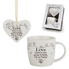 Love Ceramic Mug & Hanging Heart Gift Set - Product number 3782948
