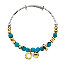 Emozioni synthetic turquoise & stainless steel bangle - Product number 3783294