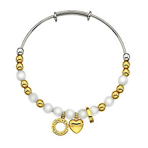 Emozioni synthetic mother of pearl & gold-plated bead bangle - Product number 3783340
