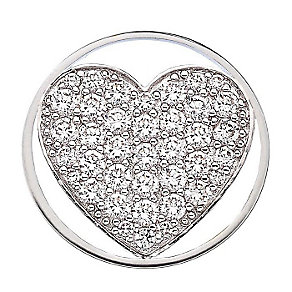 Emozioni stainless steel & cubic zirconia Heart coin - Product number 3784096