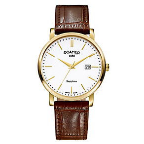 Roamer Men's Gold Tone Brown Leather Strap Watch - Product number 3788059