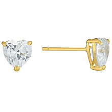 9ct Gold Heart Shaped Cubic Zirconia Stud Earrings - Product number 3790029