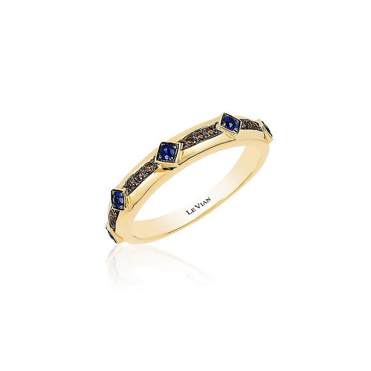 14ct Honey Gold Blueberry Sapphire & Diamond Ring - Product number 3791726