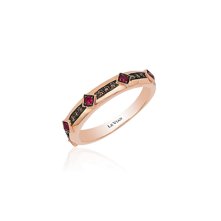 14ct Strawberry Gold Passion Ruby & Chocolate Diamond Ring - Product number 3791858