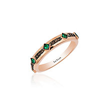 14ct Strawberry Gold Costa Smeralda Emeralds & Diamond Ring - Product number 3791971
