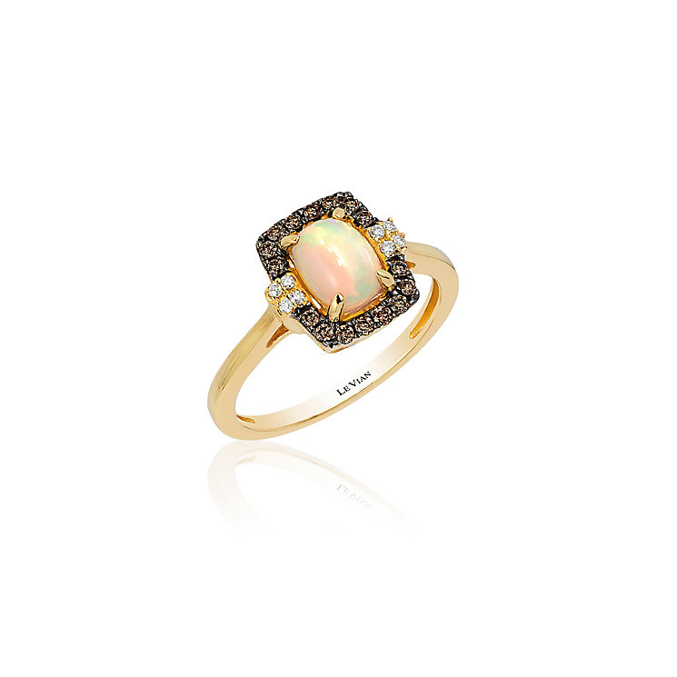 14ct Honey Gold Neopolitan Opal & Diamond Ring - Product number 3792498