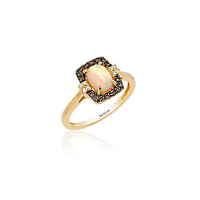 14ct Honey Gold Chocolate Opal & Diamond Ring - Product number 3792498