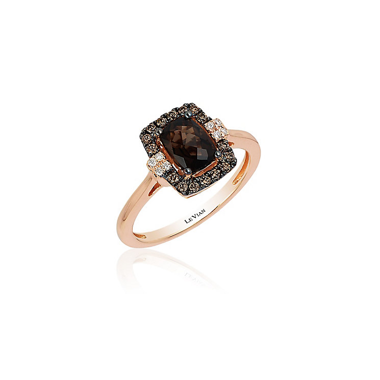 14ct Strawberry Gold Chocolate Quartz & Diamond Ring - Product number 3792625
