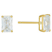 9ct Gold 4x6mm Emerald Cut Cubic Zirconia Stud Earrings - Product number 3793206