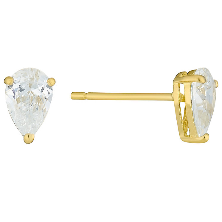 9ct Gold Pear Shaped Cubic Zirconia Stud Earrings - Product number 3793214